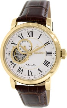 Amazon.com: Seiko Automatic SSA232 White Dial Stainless Steel Gold Tone Brown Leather Band Mens Watch: Seiko: Clothing
