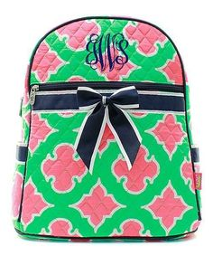 Personalized Coral Moroccan Diamond Quilted Kid's Backpack - Navy