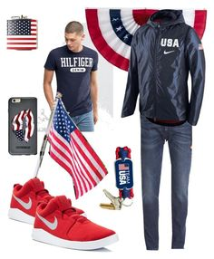 """""""Born in the USA"""" by diane-randle ❤ liked on Polyvore featuring Tommy Hilfiger, Levi's Made & Crafted, Improvements, NIKE, Urban Outfitters, OtterBox, men's fashion, menswear, darkdenim and menswearessential"""