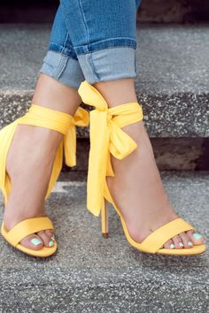 Yellow Shoes Outfit, Yellow Sneakers, Yellow Sandals, Yellow Shoes Heels, Bright Heels, Yellow High Heels, Shoes Sandals, Cute Shoes Heels, Colorful Heels