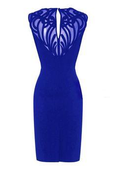 Formal Dress - Sheer Mesh Applique Pencil Dress [back]