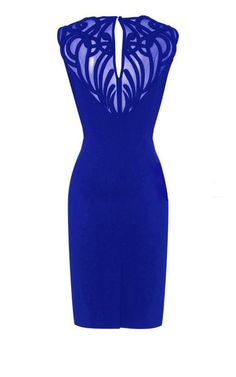 Formal Dress - Sheer Mesh Applique Pencil Dress [back]