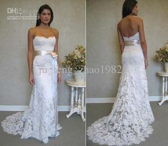 Strapless Lace Mermaid Wedding Dresses Prom Party Dress 2013 Belt Pageant Bridal Gown Chapel Train