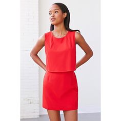 Silence + Noise Red Dress 💥NWOT💥Two-piece dress for the price of one from progressive brand Silence + Noise. Faux two-piece construction complete with a zippered closure at the skirt and at the back complete with a crew-neck and armholes. Polyester, spandex. Urban Outfitters Dresses Mini