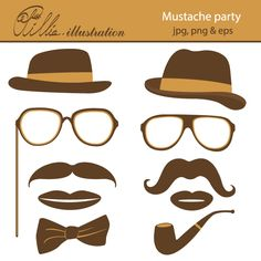 This fun Mustache party clipart comes with 10 clipart graphics featuring hats, mustaches, mouths, pipe and bow-tie. Mustache Birthday, Mustache Party, Boy Birthday Parties, Birthday Ideas, Little Man Party, Interesting Blogs, Golden Birthday, Fathers Day Cards, Birthday Decorations