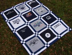 T-shirt Quilt Blanket Throw Double Sashing Penn State Custom order for Angela Quilting Projects, Quilting Designs, Diy Quilting, Quilting Tutorials, Quilting Ideas, Sewing Projects, Diy Blanket Ladder, Keepsake Quilting, Machine Quilting