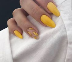 Make an original manicure for Valentine's Day - My Nails Perfect Nails, Gorgeous Nails, Pretty Nails, Acrylic Nails Natural, Best Acrylic Nails, Minimalist Nails, Nail Swag, Yellow Nail Art, Aycrlic Nails