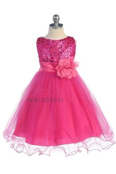 Gorgeous Fuchsia Sequined Round Neck Tulle Overlaid Girl Dress K305-FU $44.95 on www.GirlsDressLine.Com
