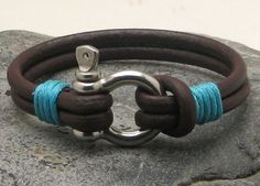 FREE SHIPPING Men's leather bracelet Brown leather by eliziatelye, $26.00