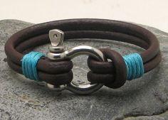FREE SHIPPING Men's leather bracelets. Brown by eliziatelye