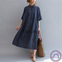 Custom size Deep Blue Linen Dress  women linen dress by YourLinen, $79.00