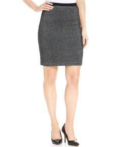 Karen Kane Knit Silver Grey Metallic Skirt - Skirts - Women - Macy's #Karen_Kane #Fashion #Macys