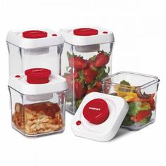 Now you can vacuum seal food, locking out air and moisture, for longer freshness with the Cuisinart Fresh Edge 8-Piece Vacuum Sealed Food Storage Containers, available at the Food Network Store
