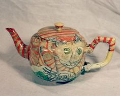 Priscilla Day painted teapot