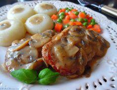 Schab w Sosie Pieczarkowym - Przepis - Słodka Strona Pork, Meat, Chicken, Asia, Kale Stir Fry, Pork Chops, Cubs