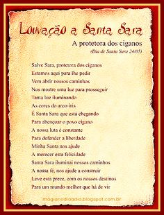 Magia no Dia a Dia: 24 de Maio: Salve Santa Sara!