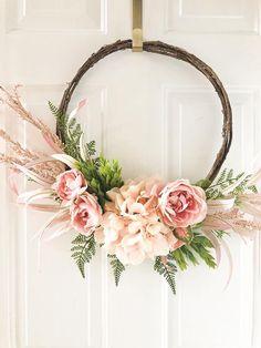 Home Decor Flower Wreath for Door Mantel or NurseryWedding | Etsy Chevron Wreath, Pink Wreath, Modern Wreath, Holiday Wreaths, Spring Wreaths, Wedding Wreaths, Valentine Wreath, Wreath Crafts, Summer Diy
