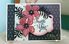 Botanical Builders - Thank You card, Botanical Blooms, Chlo's Craft Closet, Stampin' Up!, Timeless Elegance DSP,
