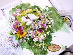 Fairy-tale canvas with blooming flowers and angelic charakter by Inna Bronnikova is up on our blog today :) Texture Paste, Blooming Flowers, Fairy Tales, Mixed Media, Floral Wreath, Table Decorations, Places, Canvases, Scrapbook Layouts