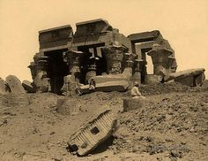 The ruins of the Temple of Kom Ombo (Temple of Sobek and Haroeris). Kom Ombo, Egypt. 1860-1886