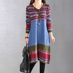 Dress - Women's Long Sleeve Stripe Loose Cotton Sweater Knitting Dress