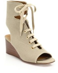 Chloe Lace-Up Canvas Wedge Sandals