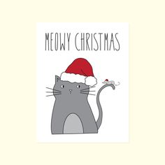 Funny Christmas Card. Meowy Christmas. Cat & Mouse. BFFs.
