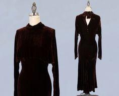 1930er Jahre Kleid / 30 s Schokolade Braun von GuermantesVintage