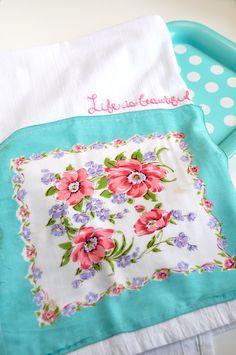 Inspiration - Vintage hankie on flour sack dishtowel with embroidered line