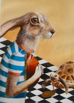 The Hare and The Tortoise 16x20 inches by Sterenn on Etsy
