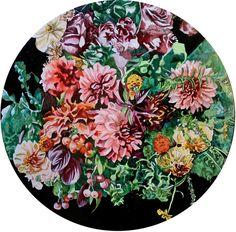 Buy original art by rising South African artist Adele van Heerden. In Bloom, floral artwork on round canvas 40 cm diameter. Round Canvas, South African Artists, Floral Artwork, Online Art Gallery, Adele, Original Art, Bloom, Van, Painting