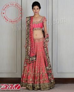 Pretentious Georgette Embroidered Pink Bridal Lehenga With Hand Work