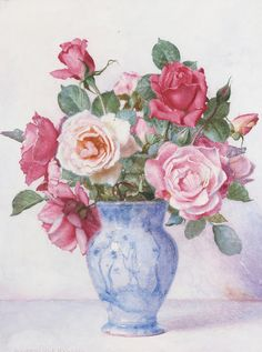 George Lawrence Bulleid    A still life of Roses in a blue and white vase