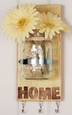 HOUSEWARMING GIFT, Shabby Chic Yellow, Key holder, Chalk paint, Mason Jar Key Holder, Pallet Wood with Mason Jar, reclaimed wood wall decor