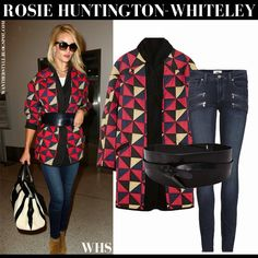 Rosie Huntington-Whiteley in red triangle print belted coat with skinny jeans and brown suede boots #rosiehuntingtonwhiteley #fashion #rosiehw #style #streetstyle #isabelmarant