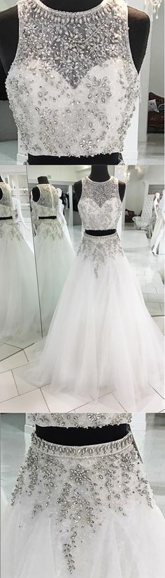 Stunning white tulle two pieces beaded round neck halter prom dresses