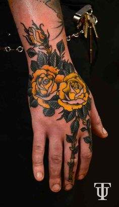 What Are Neo Traditional Tattoos? 45 Stunning Neo Traditional Tattoo Ideas For You To Get - What Are Neo Traditional Tattoos? Neo Traditional Roses, Traditional Hand Tattoo, Traditional Tattoo Flowers, American Traditional, Traditional Tattoo Sleeves, Full Hand Tattoo, Rose Hand Tattoo, Hand Tats, Tattoos Skull