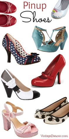 Shop Pin Up Shoes in Flirty Vintage Retro Styles - Boot Heels - Ideas of Boot Heels - Pinup Shoes! Retro Vintage style pinups heels flats wedges platforms and polka dots Rockabilly Shoes, Mode Rockabilly, Rockabilly Fashion, Retro Fashion, Vintage Fashion, Womens Fashion, High Heel Pumps, T Strap Pumps, Pumps Heels