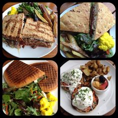 Plant Cafe in San Francisco! Plant burgers, a chicken panini and eggs benedict..