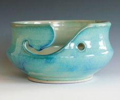 Turquoise Yarn Bowl, handmade stoneware pottery,