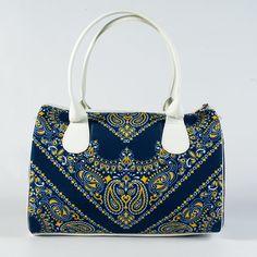 Luxury Printed Handbag for Ladies, Blue & White Women Handbag, Designer Handbag, Fashion Bag for Women, Fabric Hanbag, Day Satchel, 5083