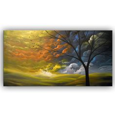 large abstract landscape painting folk art original by mattsart, $350.00