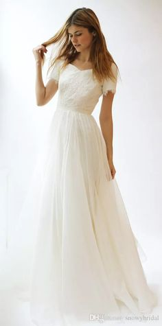 Wholesale wedding gowns pictures, wedding shops and wedding stores on DHgate.com are fashion and cheap. The well-made short sleeves lace chiffon modest wedding dresses 2017 with sleeves sashes a-line summer beach boho wedding gowns simple reception dress sold by snowybridal is waiting for your attention.