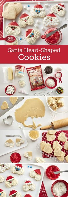 These cute and easy Santa cookies will be a hit on cookie trays! Use completely cooled cookie sheets. Cookies will spread too much if put on a hot or warm cookie sheet. Expert tip: Frosting tends to set quickly once spread; for best results, completely decorate 1 cookie before starting another. Christmas Fun, Christmas Cooking, Christmas Foods, Christmas Deserts, Christmas Party Food, Christmas Recipes, Holiday Recipes, Christmas Drinks, Santa Cookies