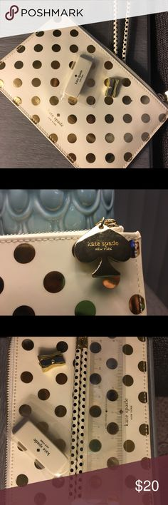 """Kate Spade Gold dots pencil pouch Brand new. So cute for back to school!! Length: 8.5"""" Height: 5.5"""" kate spade Accessories"""