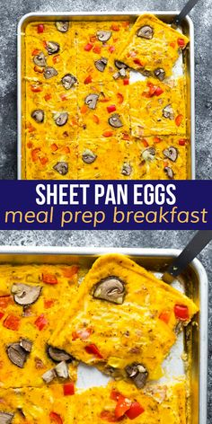 Cook breakfast for a crowd with these sheet pan eggs! Prepare them in minutes, customize with your favorite toppings, and sit back and relax while the oven does the hard work. #sweetpeasandsaffron #sheetpan #mealprep #breakfast