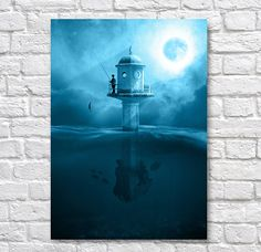 Fishing By Moonlight - A4 Surreal Art Prints - Surreal Wall Art Wall Decor - Surrealism Use Coupon Code : ONEFREE to save £5.95(one free print) when you spend over £17.50 in my store. effectively Buy 2 prints and get a 3rd FREE Item Description Surreal Wall Art Poster Prints. Quality and Details Paper: All posters are printed on Olmec(Innova) Photo Lustre 260gsm, instant dry, fade resistant microporous coated heavyweight RC paper. acid free and water resistant paper. This Paper...
