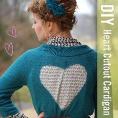 Add a lace heart cutout to a cardigan. By Stars for Streetlights. Would work with a doily, I think??