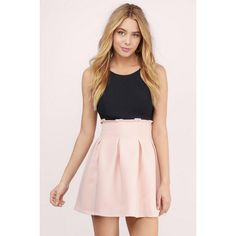 Tobi Nila Pleated Skater Skirt ($44) ❤ liked on Polyvore featuring skirts, blush, pink pleated skirt, box pleat skirt, pink skater skirt, pink circle skirt and skater skirt