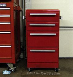i love this! a regular little cabinet that is painted to look like a tool chest